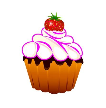 Cupcake mit Erdbeeren und Sahne auf einem wei�en Hintergrund.