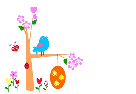 A tree with Easter eggs and poultry