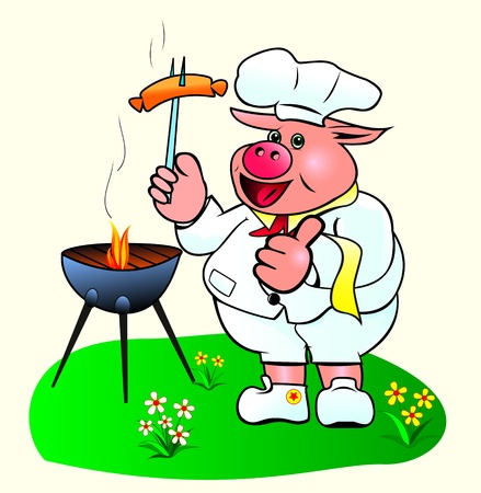 Pig chef prepares sausages on the barbecue