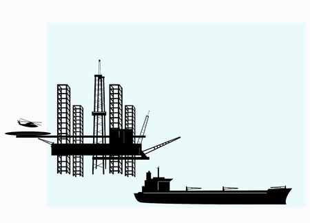 Silhouette of offshore oil platforms and tankers
