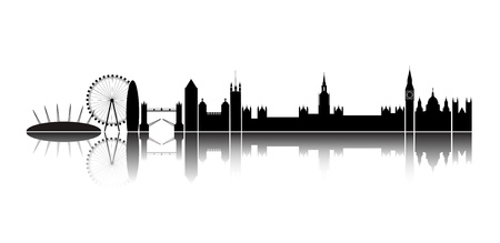 Isolated silhouette of the city of London, together with reflection on the horizon       Illustration
