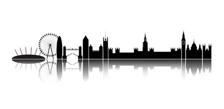 acquaintance: Silueta aislada de la ciudad de Londres, junto con la reflexi�n sobre el horizonte