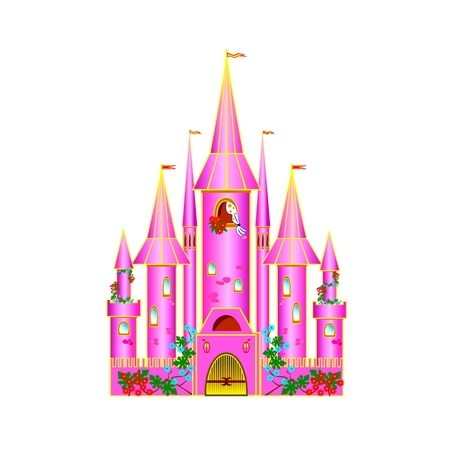 Cartoon pink castle with flowers