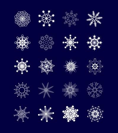 Set of geometric snowflakes on a blue background    Illustration