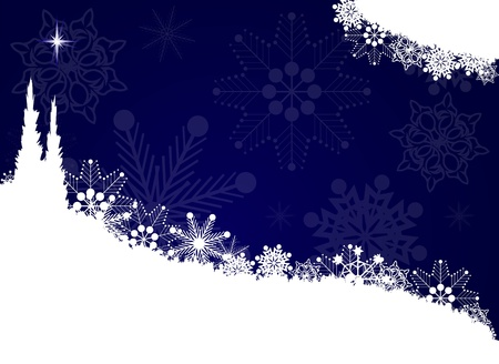 Snowflakes on a blue background     Illustration