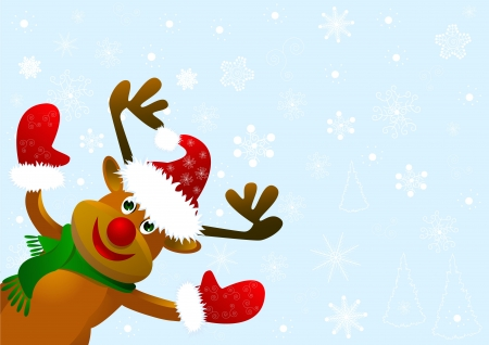 Funny cartoon-deer against a blue background with snowflakes