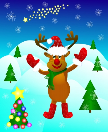 Funny cartoon deer paw raised in greeting amid festive Christmas trees and snowflakes  Illustration