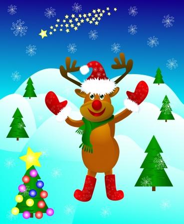 Lustige Karikaturrotwild Pfote Gru� inmitten festliche Weihnachtsb�ume und Schneeflocken erh�ht