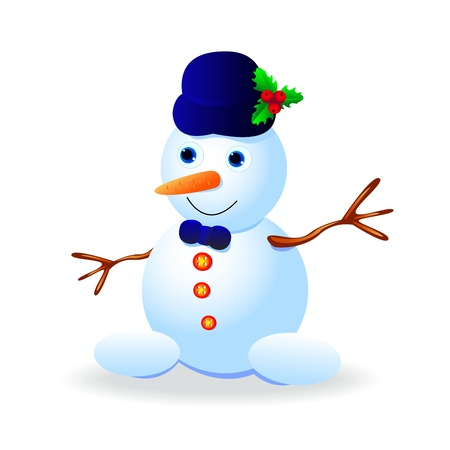 Funny snowman in a hat on a white background