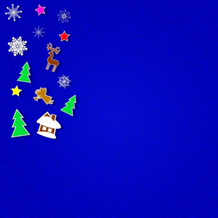 Bright Christmas decorations on an abstract background