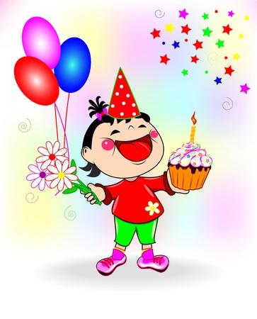 Illustration eines gl�cklichen kleinen M�dchen mit Kuchen und Blumen in ihren H�nden