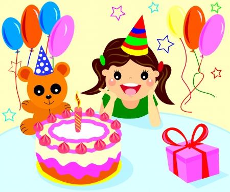Happy little M�dchen feiert ihren Geburtstag mit Kuchen und Luftballons Illustration
