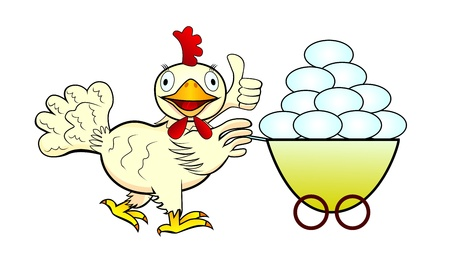 pushes: A  chicken pushes a wheelbarrow with eggs   Isolated illustration