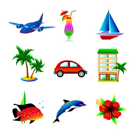 Set of icons on a theme of travel and recreation     Illustration