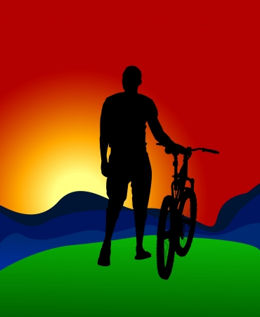 A silhouette of a cyclist on the background of mountains and sun dawn    Illustration