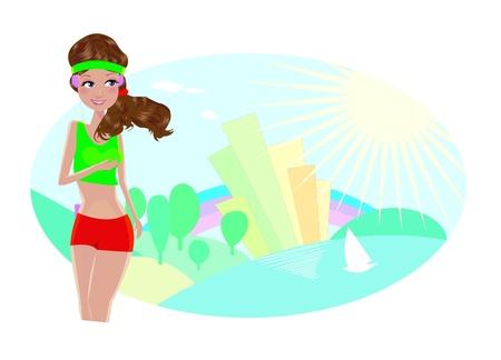 Frau beim Joggen auf einem Hintergrund der abstrakten Stadt und Landschaft