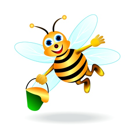 Flying bee with a bucket of honey in his hand