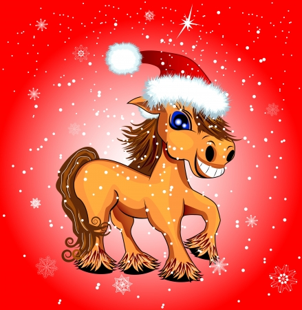 A horse with snowflakes on a red background