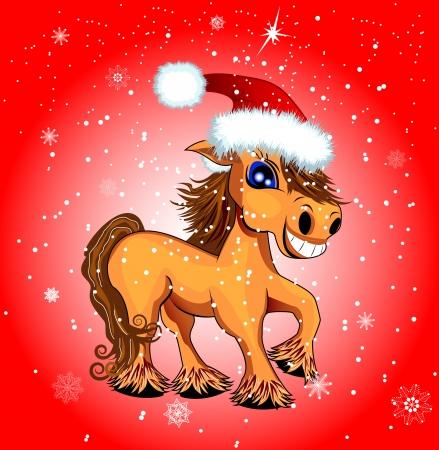 Ein Pferd mit Schneeflocken auf einem roten Hintergrund