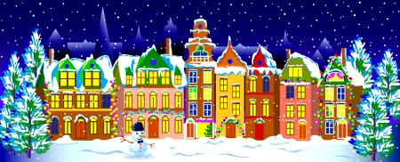 Winter-Stadt f�r Weihnachten Nacht Winter Stadt Winterstadt eingerichtet Illustration