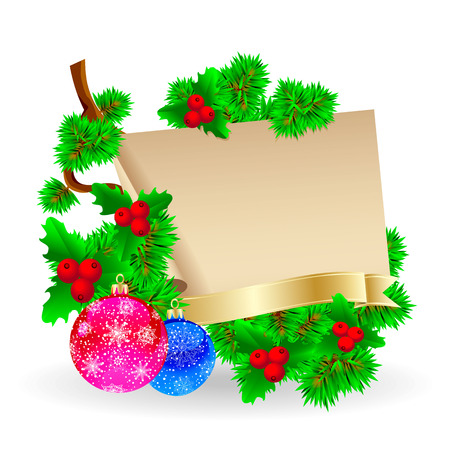 Festive composition of a sheet of paper for gifts and Christmas decorations    Illustration