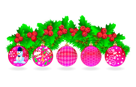 Festive set of Christmas balls, Christmas tree branches and berries