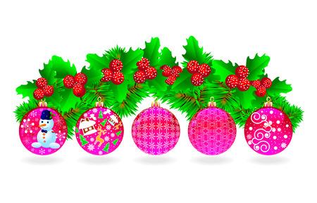 Festliche Set von Weihnachtskugeln, Weihnachtsbaum Zweigen und Beeren