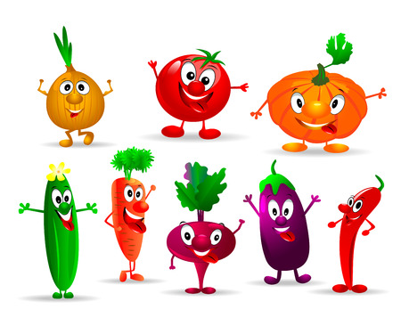Collection of various fun and funny vegetables    Illustration