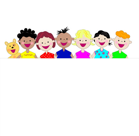 A small group of happy and smiling children  Illustration