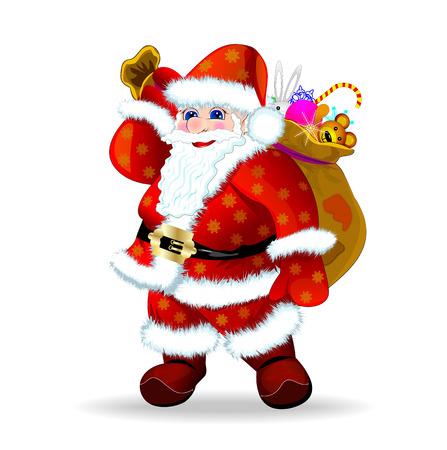 Santa Claus mit einem Sack von Geschenken auf den Schultern Illustration