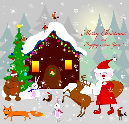 Santa Claus, as well as various animals on the background of the house on the night of Christmas  Illustration