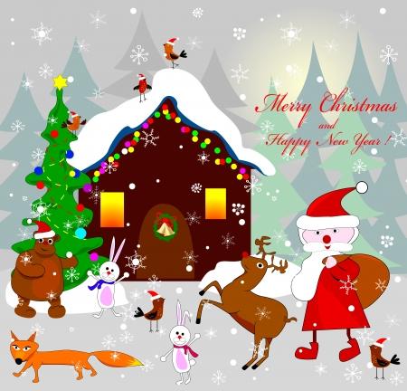 Santa Claus, sowie verschiedene Tiere auf dem Hintergrund des Hauses in der Nacht von Weihnachten