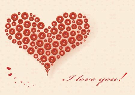 Stilisierte Herz von roten Tasten Gru�karte f�r Valentine s Day gemacht