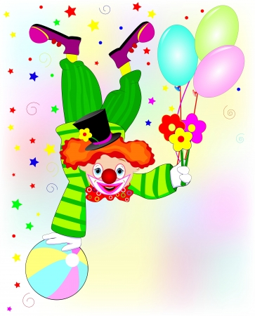 Clown standing upside down  with flowers in hand
