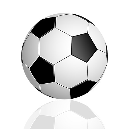 Soccer ball with reflection on white background Illustration