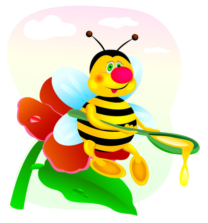 Bee sitting on a red flower with a spoonful of honey in his hands