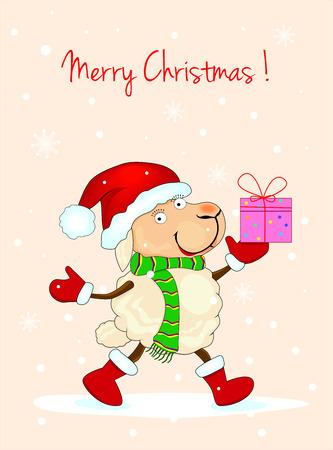Schaf mit Geschenken und Gr��e zu Weihnachten.
