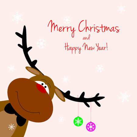 Cartoon reindeer on greeting cards with Christmas Illustration