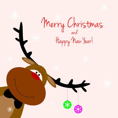 Cartoon Rentiere auf Gru�karten mit Weihnachts Illustration