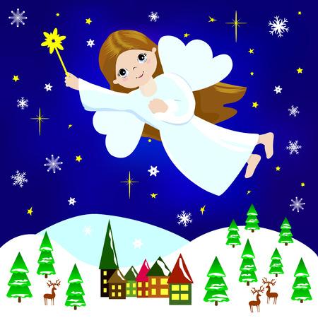 Kleines M�dchen Weihnachtsengel fliegen in den Nachthimmel �ber der Stadt und B�ume, unter Schneeflocken und Sternchen. Illustration