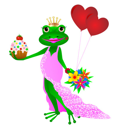 Frog in a pink dress with flowers, balloons and cake in her hands.