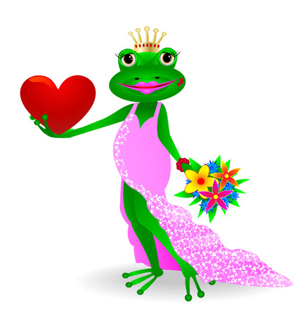 frog queen: Cartoon princess frog with heart and flowers in their hands.