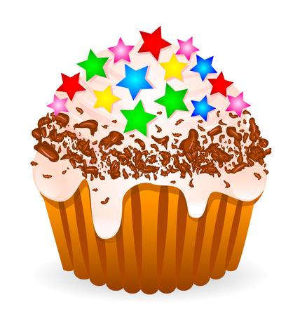 Cake with whipped cream, sprinkled with chocolate chips and decorated with caramel in the form of stars. Illustration