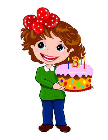 Kleines M�dchen steht mit Kuchen in der Hand.