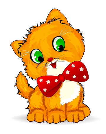 Auburn little kitten with a red bow.