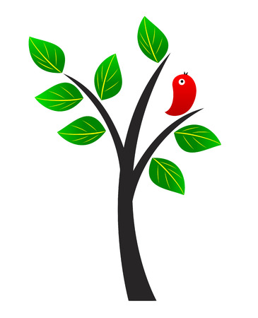Tree with green leaves and red bird. Illustration