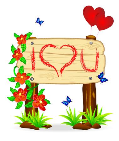Holzplatte mit der Inschrift der Anerkennung in der Liebe zu den Blumen und Schmetterlingen.
