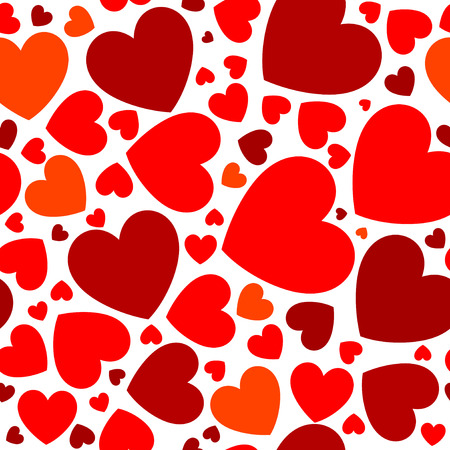 Seamless pattern with red hearts on the white background.
