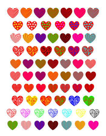 A diverse collection of hearts.  Illustration