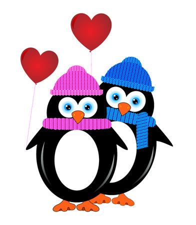 Zwei Liebende Pinguin mit Ballons in Form von Herzen.